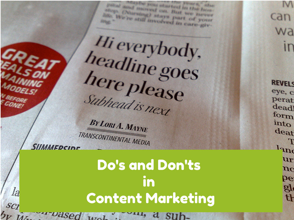 dos and dont's content marketing